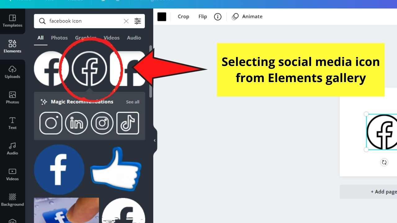 Selecting Social Media Icon to Use