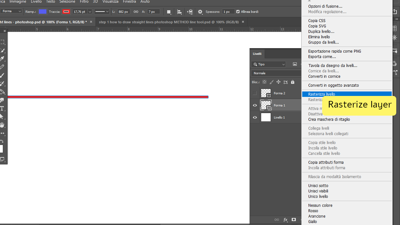 how to draw straight lines in photoshop using the line tool Step 4
